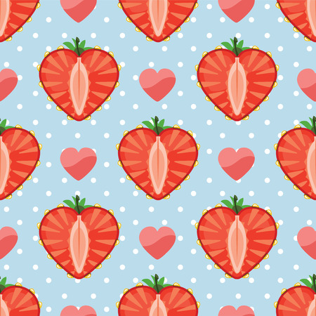 Strawberry halves heart shaped and hearts on the pink background Vector