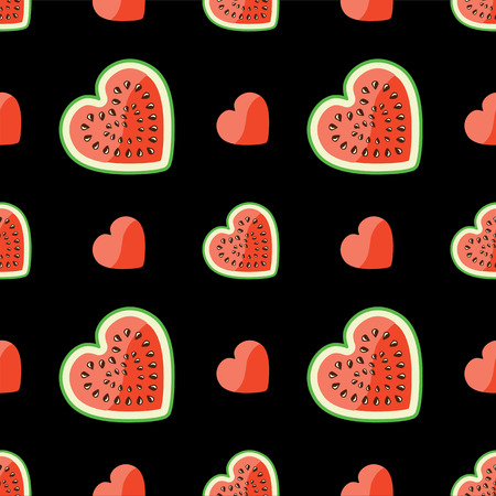Halves of watermelon and hearts on a black background Vector