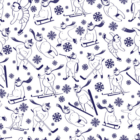 White bear plays winter sport Seamless pattern or background Vector