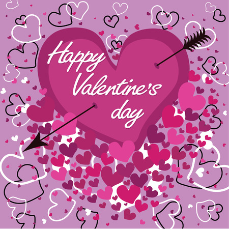 pierced: Heart pierced with an arrow and the word love  Against the background of flying hearts Happy Valentine