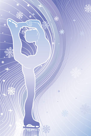 vertica: Male athlete figure skates Back abstract snowflakes background and wavy lines