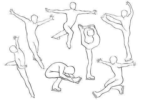 sophistication: Hombres Patinaje art�stico en el movimiento en las siluetas de hielo Vectores