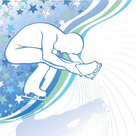 sophistication: Men in tilt are figure skating in motion on the ice Illustration