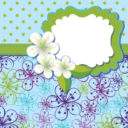 Spring or summer background. Cherry Flowers or Apple  Flowers,Spring Design template.Cherry flowers background and poka dot an abstract background .Label with flowers.Use as template,screensaver,cover,background.Cold color.Vector illustration Vector