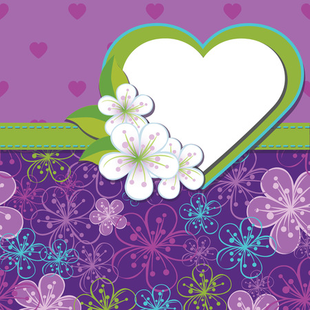 Flowers background,heart in abstract background