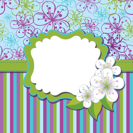 Spring or summer background. Cherry Flowers or Apple  Flowers,Spring Design template.Cherry flowers background and strips an abstract background .Label with flowers.Use as template,screensaver,cover,background.Cold color.Vector illustration Vector