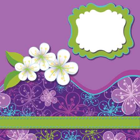 Spring or summer background. Cherry Flowers or Apple  Flowers,Spring Design template.Cherry flowers background , abstract background  and label with flowers.Use as template,screensaver,cover,background.Cold color.Vector illustration Vector