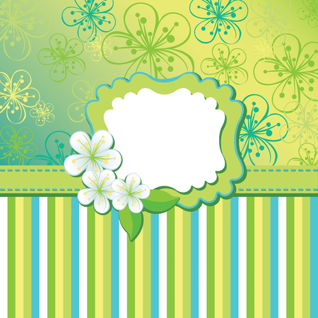 Spring or summer background. Cherry Flowers or Apple Flowers,strips in  abstract background of lines and gradient.Cool colours. Label with flowers.Use as template,screensaver,cover,artwork,background.Blue-green color.Vector illustration Vector