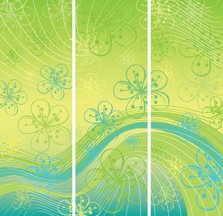 Spring or summer background. Spring background. Flowers on the abstract background.Abstract background of lines and gradient. Blue-green color Vector