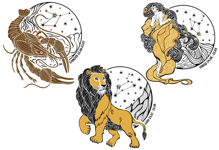 leo: Cancer,Leo stand Virgo onefemale with long flowing hair dressed in ancient Greek tunic Behind are stars in Horoscope circle with the constellations  Set of three signs of the zodiac Designer screen saver or templates White background