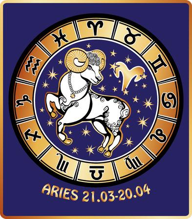 Ein Widder reitet hinter ihnen sind Symbole für alle Tierkreiszeichen Horoskop Kreis Goldene und weiße Zahl auf blauem Hintergrund Vector Graphic Illustration im Retro-Stil