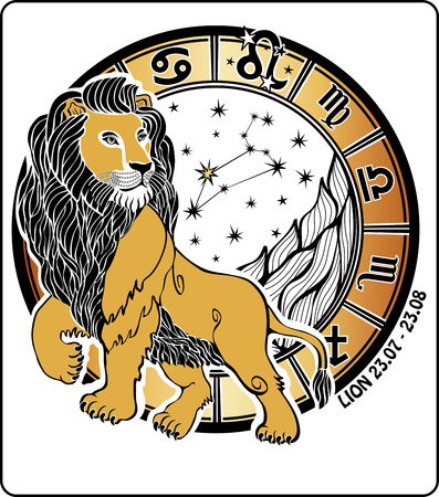 One Lion is on the Horoscope circle On Horoscope circle are  symbols of all zodiac signs On a white background Graphic Vector  Illustration