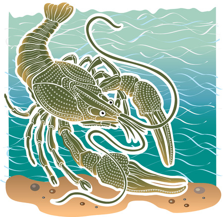 clam illustration: Animal Clam cancer in habitat water  Vector Illustration  Styling