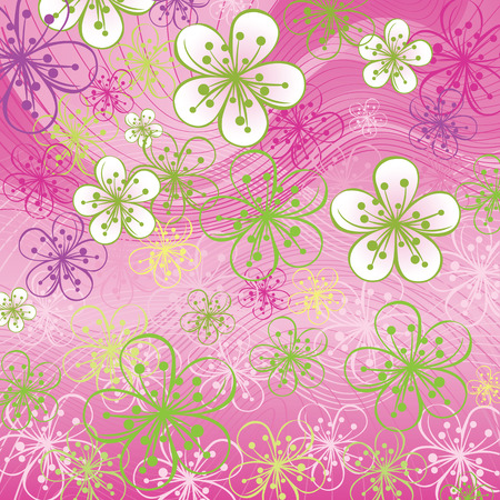 Spring background or summer background.Cherry Flowers or Apple Flowers  in soft colors.Abstract background of lines and gradient. Pink-green color Vector