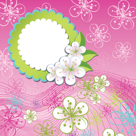 Spring background or summer background.Cherry Flowers or Apple  Flowers,Spring Design template.Label with flowers.Use as template,screensaver,cover,background,wedding design.Pink color.Vector illustration Vector