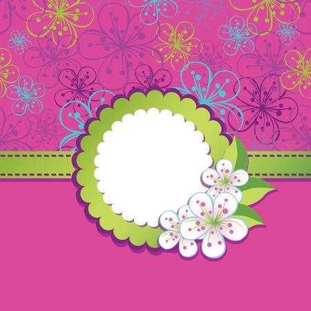 Spring or summer background. Cherry Flowers or Apple  Flowers,Spring Design template.Pink background.Round Label with flowers.Use as template,screensaver,cover,background.Vector illustration Vector