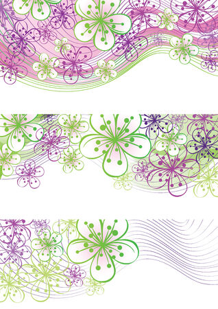 Spring or summer border.Cherry Flowers or Apple Flowers  in abstract composition of lines and gradient.Use as border,frame,template,screensaver,cover,artwork,background.Vector illustration Vector