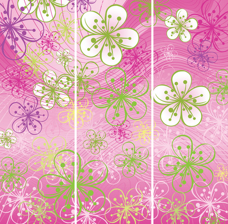 Three Spring banners.Spring background or summer background.Cherry Flowers or Apple Flowers  in soft colors.Abstract background of lines and gradient. Pink-green color Vector