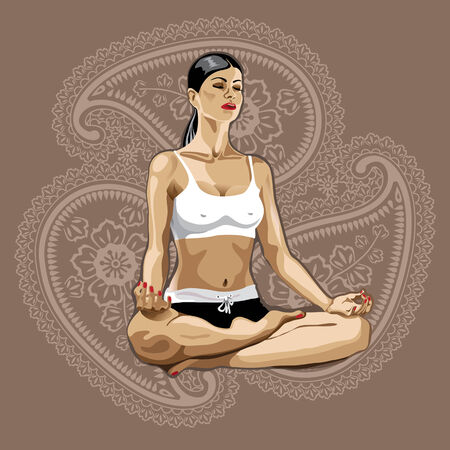 One female practicing yoga.She sits in the lotus position. Illustration.Paisley background Vector