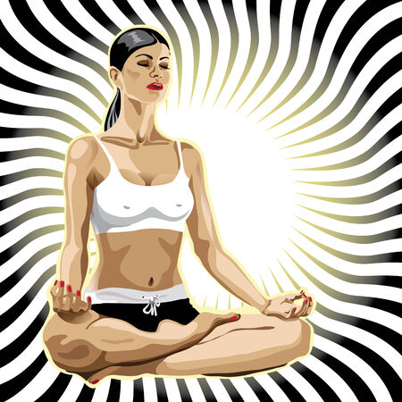 One female practicing yoga.She sits in the lotus position. Illustration.Abstract  background,Room for text.Background,poster design template,sticker Vector