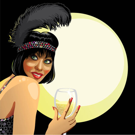 girl with champagne with moon backdrop Vector