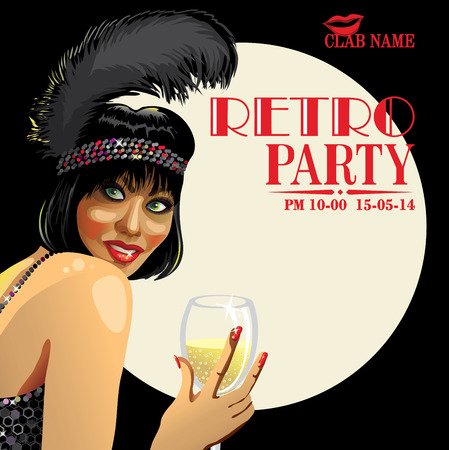 Smiling female with short hair and a black feather on his head holding a glass of champagne. Advertising cabaret show in night club. Retro illustration,poster,template  Vector