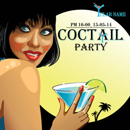 europian: Smiling  female with short hair  holding a glass of coctail. Advertising Coctail party in night club. Retro illustration,poster,template  Illustration