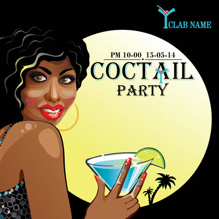mulatto: Smiling mulatto female with short hair  holding a glass of coctail. Advertising Coctail party in night club. Retro illustration,poster,template