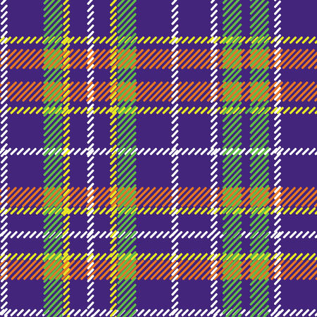 vector pattern: Violet,green,orange,yellow and white tartan traditional fabric seamless vector pattern or background,ornament, background,fabric,Wallpaper,wrapping paper Retro style Fashion illustration,vector Illustration
