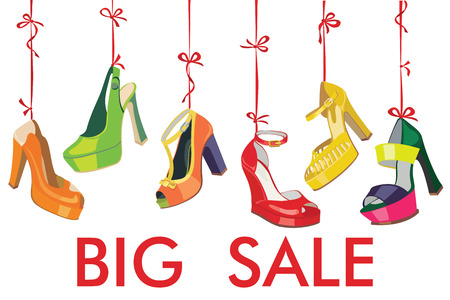 Set van kleurrijke mode vrouwen schoenen, open schoenen, hoge hakken, prachtige schoenen, open teen schoenen hangen aan een lint Hallo zomer achtergrond Casual en feestelijke mode illustratie, vector