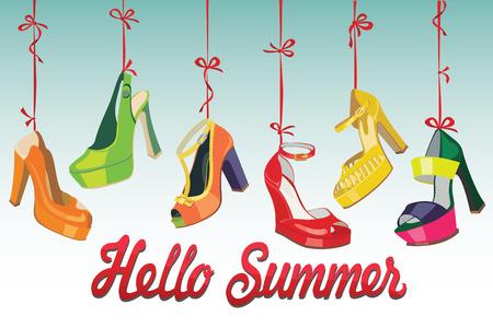 illustrazione moda: Set di scarpe da donna di moda Colorful s, scarpe aperte, scarpe tacco alto, scarpe bellissime, scarpe open toe appendere su un nastro Ciao sfondo estate casual e festoso Moda illustrazione, vettore