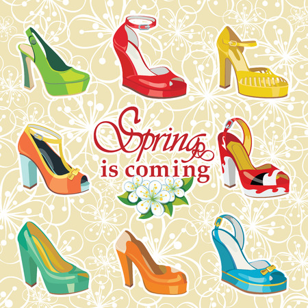 open toe: Set of Colorful fashion women s shoes,open shoes,High heel shoes ,gorgeous shoes,open toe shoes Casual and festive Proverb Hello summer Fashion illustration,vector
