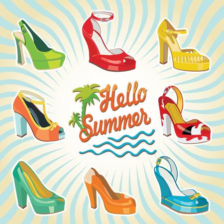 illustrazione moda: Set di Colorful scarpe delle donne di modo s, scarpe aperte, scarpe tacco alto, scarpe bellissime, scarpe open toe Ciao estate sfondo casual e festoso Moda illustrazione, vettore