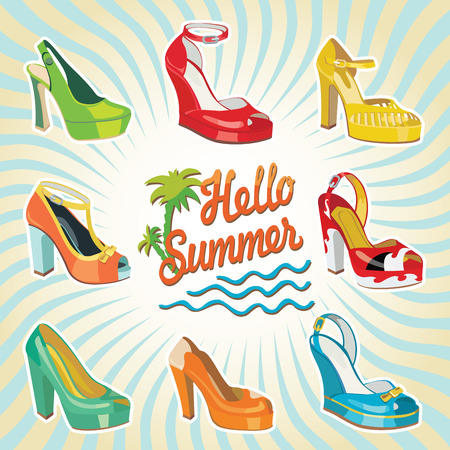 Set of Colorful fashion women s shoes,open shoes,High heel shoes ,gorgeous shoes,open toe shoes   Hello summer background Casual and festive Fashion illustration,vector Vector