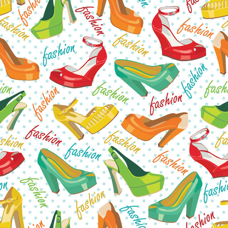 leather goods: Several colorful fashion women s shoes,open shoes,High heel shoes ,gorgeous shoes,open toe shoes in seamless pattern,ornament, background,fabric,Wallpaper,wrapping paper Casual and festive Retro style Fashion illustration,vector Illustration