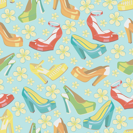 Several colorful fashion women s shoes,open shoes,High heel shoes ,gorgeous shoes,open toe shoes in seamless pattern,ornament, background,fabric,Wallpaper,wrapping paper Casual and festive Retro style Fashion illustration,vector Illustration