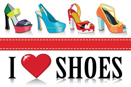illustrazione moda: Set di scarpe da donna di moda Colorful s Proverd Adoro le scarpe casual e il modello di festa Design, manifesto, bandiera Moda illustrazione, vettore