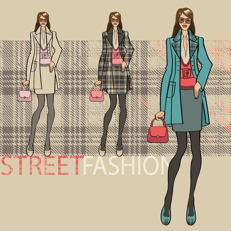 ensemble: Fashion illustration. Fashionable girl in a coat and skirt. Options ensemble service. Street fashion. Sketch of model