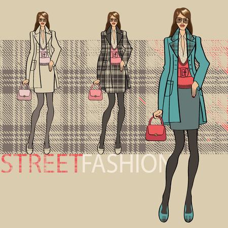 illustrazione moda: Illustrazione di moda. Ragazza alla moda in un cappotto e gonna. Opzioni di servizio insieme. Street fashion. Sketch di modello