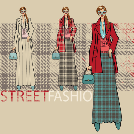 long skirt: Fashion illustration. Fashionable girl in a coat and  long skirt. Options ensemble service. Street fashion. Sketch of model