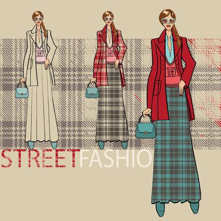 illustrazione moda: Illustrazione di moda. Ragazza alla moda in un cappotto e gonna lunga. Servizio di opzioni ensemble. Street fashion. Sketch di modello