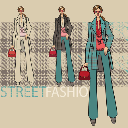 Fashion illustration. Fashionable girl in a coat and trousers. Options ensemble service. Street fashion. Sketch of model Vector