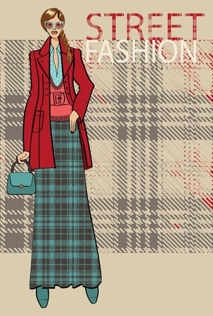 Fashion illustration.Fashionable girl in the coat stands in street fashion background.The inscription  street fashion. Sketch of the model . Vector