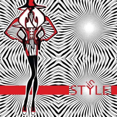 illustrazione moda: Illustrazione di moda. La ragazza in una giacca con spalle larghe si trova in astratto background senza iscrizione in stile. Schizzo del modello.