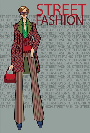 Fashion illustration. The girl in the coat stands in street fachion background.The inscription style . Sketch of the model . Vector