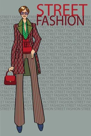 illustrazione moda: Illustrazione di moda. La ragazza nel cappotto si trova in fachion street style iscrizione background.The. Schizzo del modello.