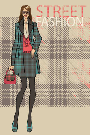 Fashion illustration.Fashionable girl in the coat stands in street fashion background.The inscription  street facshion. Sketch of the model . Vector