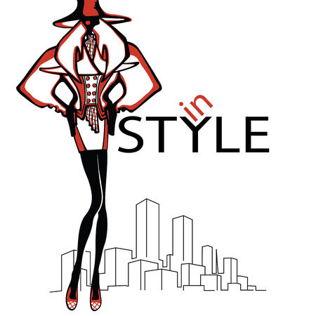 Fashion illustration  The girl in the hat stands amid abstract city The inscription in style   Sketch of the model   Vector
