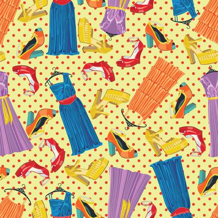 illustrazione moda: Seamless pattern di polka dot, abiti da cocktail e tre femminili s e tacco alto shoeses aperte Usa come sfondo, tessuto, carta da parati, carta da imballaggio casual e festoso Moda illustrazione, vettore