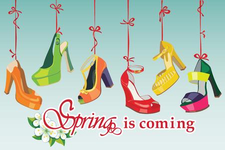 illustrazione moda: Set di Colorful scarpe delle donne di modo s, scarpe aperte, scarpe tacco alto, scarpe bellissime, scarpe open toe appendere su un nastro di primavera sta arrivando sfondo Moda Casual e festosa illustrazione, vettore
